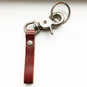 Classic vintage brown leather strap keychain